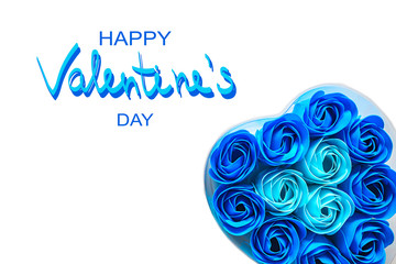 Love hearts on white background. Valentine's day card concept. Toilet soap in the form of blue roses in a box in the shape of a heart . Heart on Valentine's day background