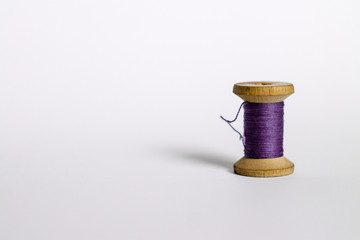 purple vintage thread on white background
