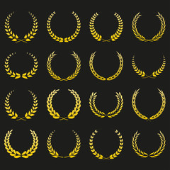 Laurel wreath icon set. Vintage golden frames collection with branches. Vector illustration.