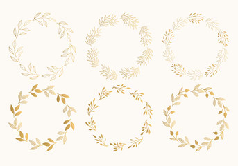 Gold floral round frames. Glitter wreath design. Vector. Isolated.