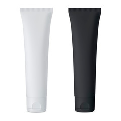 Cosmetic Cream Tube. Black and White Vector Mockup Set. Luxury Soft Packaging for Gel, Tooth Paste, Mask. Plastic Container with Cap for Skin Care Moisturizer. 3d Realistic Jar Set.