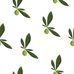 seamless pattern with olive tree vector - green floral pattern - white background