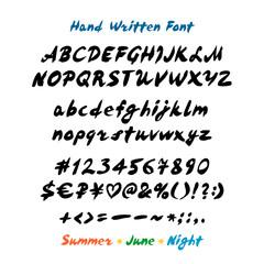 Latin alphabet handwritten lettering vector font