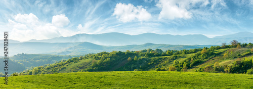 Wall mural panorama of beautiful countryside of romania. sunny afternoon. wonderful springtime landscape in mountains. grassy field and rolling hills. rural scenery