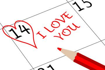 Valentin`s Tag Ich Liebe Dich mit Herz und Stift