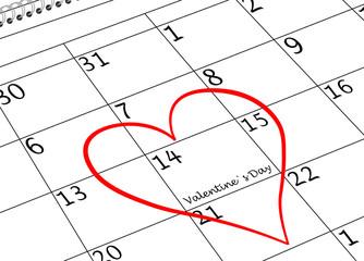 Valentin`s Tag Ich Liebe Dich Kalenderblatt mit Herz