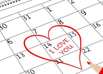Valentin`s Tag Ich Liebe Dich Kalenderblatt mit Herz und Stift