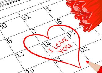 Valentin`s Tag Ich Liebe Dich Kalenderblatt mit Herz Blumen und Stift
