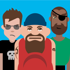 Group of three tough guys, Vector illustration