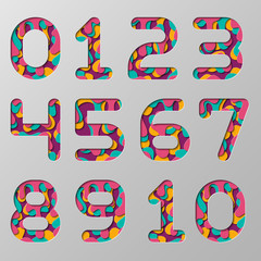 Paper cut Number set. Realistic 3D multi layers paper cut effect isolated on Grey background.