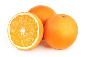 Wall Mural - fresh orange fruits isolated on white background