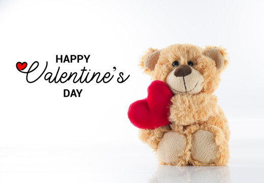 Valentine's day, Cute Teddy bear holding heart, Love Background