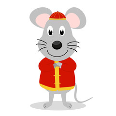 Rat cartoon character wear Chinese cloth and hold his hand to greeting. Design for character use in greeting card, banner for Chinese new year or spring festival in vector.