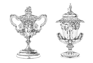 Detailed sketch of trophies. Sketch collection