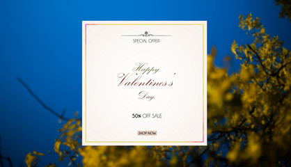 Winter card Valentines day sale background with yellow leaf and blue sky background.special offer.50% sale. shop now.illustration.Wallpaper.flyers, invitation, posters, brochure, banners.