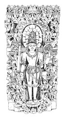 Vishnu Hindu God. Sketch collection