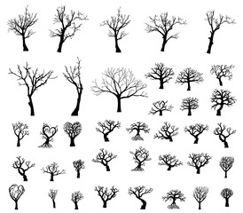 Large collection of silhouettes of trees. 38 silhouette of trees.