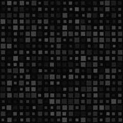 Abstract seamless pattern of small squares in various sizes or pixels in gray and black colors