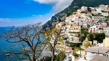 Colorful Positano city at spring time, Amalfi coast, Italy.