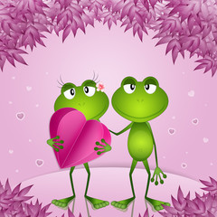 an illustration of a couple of frogs with hearts in Valentine day