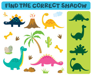 Find the correct shadow. Adorable dinosaurs isolated on white background