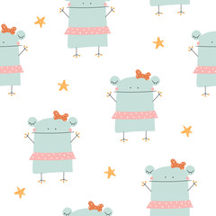 Childish seamless pattern with funny frog. Cute kids print. Vector hand drawn illustration.