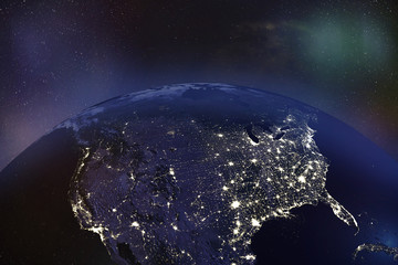 USA at night from Orbit - Elements of this image furnished by NASA