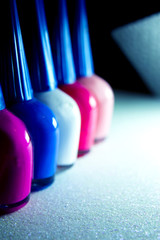 Nail polish placed in line