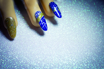 Permanent gel nails with new year decoration