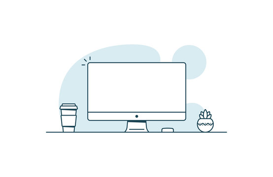 Personal computer with blank screen. Workspace with computer, coffee cup and plant. Vector illustration in line art style