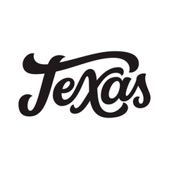 Texas. Hand drawn lettering text