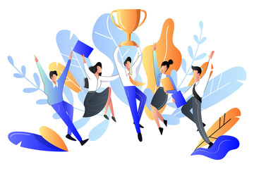 Successful team or teamwork concept. Vector flat style illustration. Happy young people got prize, business metaphor