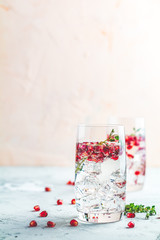 Festive drinks, gin and tonic pomegranate cocktail