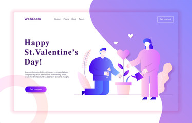 Valentines day romantic people couple of man and woman lovers in gradient pink and violet colors flat style design concept with big modern characters. Love web banner