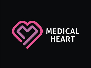Vector heart logo template. Medical technologies and preparations.