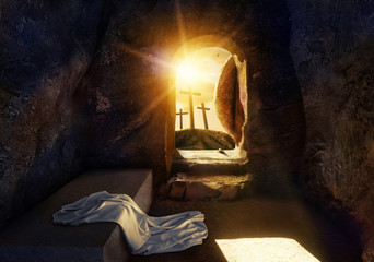 He is Risen. Empty Tomb With Shroud. Crucifixion at Sunrise. The illustration contains 3d elements. Wall mural