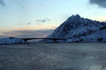 Bridge connecting the the beautiful islands Lofoten islands-Norway. A ferry point of view