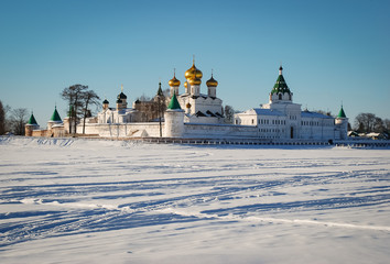 Ipativsky monastery - beautiful old architecture of russian orthodoxy church. Russia, town Kostroma