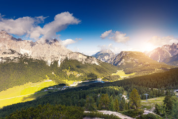 Sunny view of the wonderful alpine valley. Location place Misurina, Dolomiti alp, Tyrol, Italy.