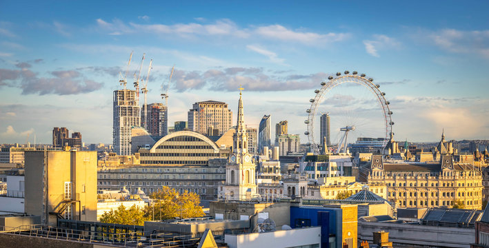 London skyline with London eye at cloudy day