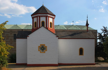 Lateral elevation of the romanesque chapel of Trier Heiligkreuz, Germany