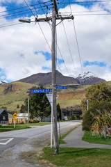 Street signs with Scottish place names in Glenorchy, South Island, New Zealand