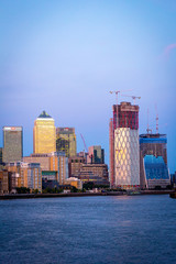 A view on the Thames River and Canary Wharf in London, UK