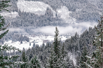 Low clouds in the snowy valley