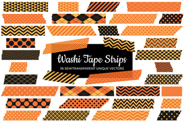 Halloween Washi Tape Strips with Torn Edges in Orange and Black Patterns. 36 Unique Semitransparent Vectors. Photo Print Sticker, Web Layout Element, Clip-Art Frame Border, Scrapbook Embellishment
