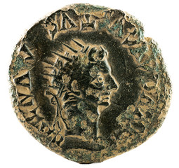 Ancient Roman copper coin of Emperor Tiberius. With the Emperor Augustus. As. Coined in Turiaso. Reverse.