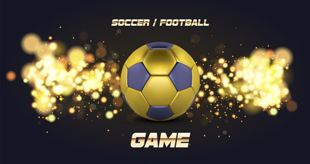 Football Banner With 3d golden blue Ball. Soccer game match design with soccer ball. Football ball on golden background.