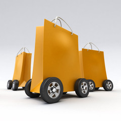 Orange shopping bags on wheels