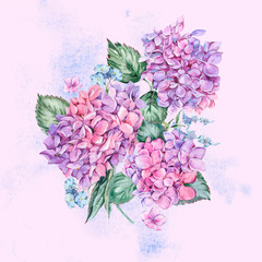 Summer Watercolor Vintage Floral Greeting Card with Blooming Hydrangea
