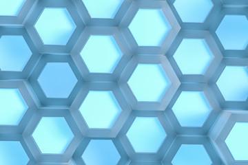 3d rendering, blue hexagonal background
